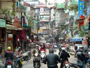 Bairro antigo, região central de Hanoi, Vietnã