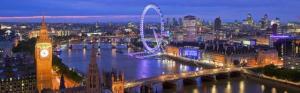 Panoramica noturna de Londres, a partir da Victoria Tower