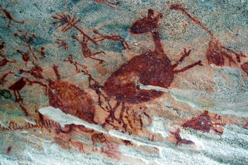 Diversas pinturas rupestres do parque retratam cenas de caça e de animais.