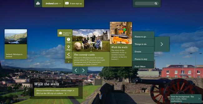 A versão em português do website da Ireland Tourism.