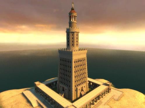 Ilustração do novo Farol de Alexandria, no Egito.