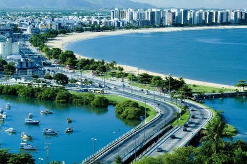 Panorama aéreo de Vitória, capital do Espírito Santo
