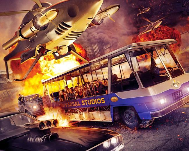 Cenário do filme Velozes e Furiosis, no Universal Studios Hollywood, em Los Angeles.