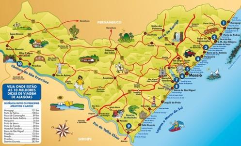 Mapa dos melhores recantos turísticos de Alagoas, mostrando a Costa dos Corais