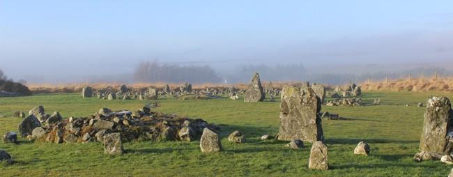 Panorama de um dos círculos de pedras de Beaghmore, na Irlanda