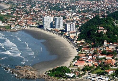 A orla de Itanhaém, na Baixa Santista