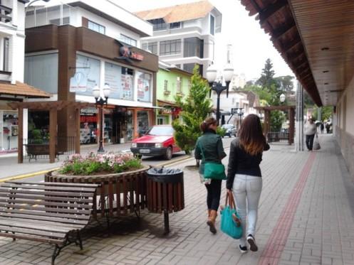 Rua para pedestres no centro de São Bento do Sul
