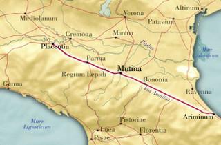 Mapa da antiga Via Emilia