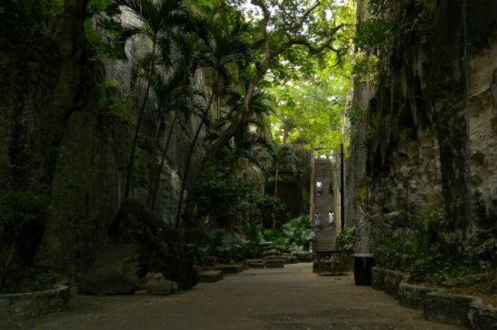 """Escadaria da Rainha também conhecida como """"66 passos"""" foi escavada em pedra calcária por escravos durante os anos de 1793 e 1794"""