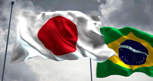 Bandeiras do Japão e do Brasil